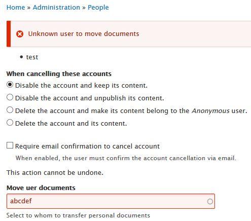 cancel user account validation error